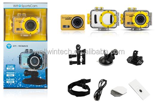 Wifi dvr voiture 1080p sports casque caméra vidéo caméscope dvr enregistreur d'action imperméable à l'eau