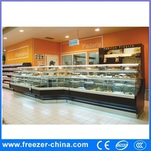 Excellent refrigerating effect fan cooling curved glass Heated Display Case for pastries