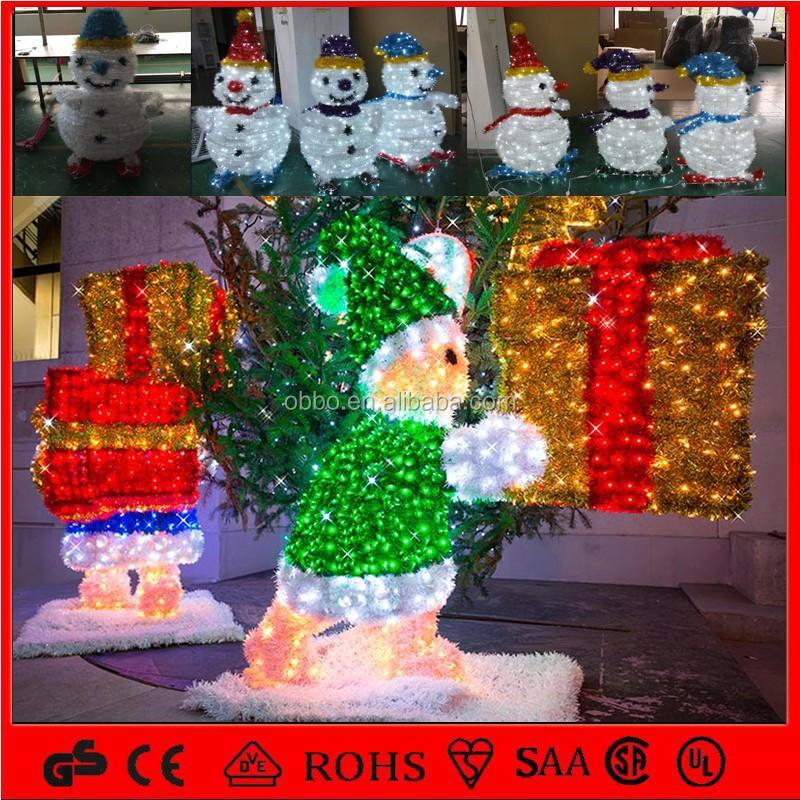 Led street decoration 3d snowman motif light for christmas for 3d garden decoration