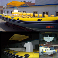 11 m luxury rib inflatable fiberglass boat with canopy