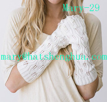 Knitted Fingerless Gloves Women's Lace Trimmed Arm Warmers Light Gray Wrist Warmers Buttons and Crochet Lace (Mary-29)