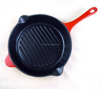 enamel cast iron paella fry pans with long handle support