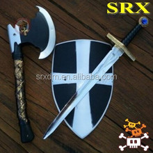Hospitaller Crusader toy sword axe shield knight medieval prop,medieval swords plastic toys,custom cheap plastic toy