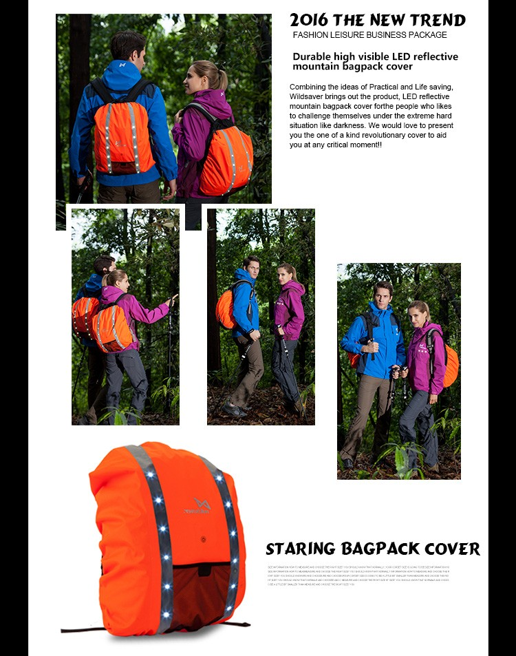 LED polyester 100% waterproof men's outdoor backpack rain cover