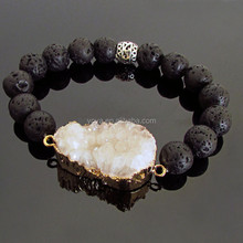 BRH1470 Wholesale black lava beaded white druzy druzzy stretch bracelet