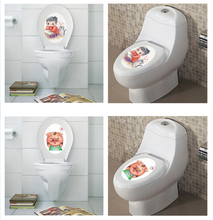 Cute Design Removable Bathroom Decal Decor Toilet Seat Wall Sticker for Kids