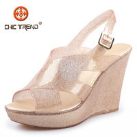 2016 summer cheap wholesale sandals pvc upper jelly shoes crystal glitter plastic shoes for women