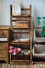 antique style cheap hot sale shelf wood flower pot rack