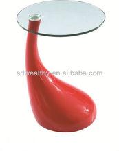 Pequeño ocio mesa de café / vidrio fundido a presión de aluminio base de fibra de vidrio mesa de café C-319