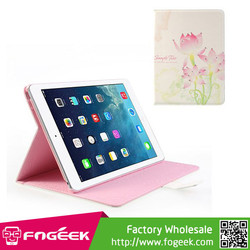Fast Shipping Pink Lotus Flower Rhinestone for iPad Air 5 Wake Up / Sleep Leather Cover Stand