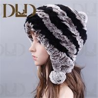 Beautiful real imitation rabbit fur scarf knit hat with animal ears