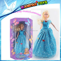 2015 new arrival 6 movable joints Cinderella doll play music and Luminous Cinderella doll