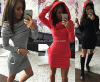 SFW1511043 2015 Winter Autumn Women Dress package hip Elegant Short Dresses Sexy Long Sleeve Pockets Womens Clothing Plus Size