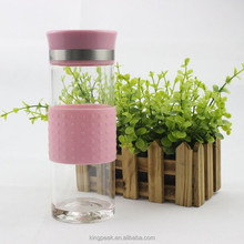 350ml Borosilicate glass water bottle with silicone sleeve/ Portable Reusable Glass sports bottle good for promotion gift