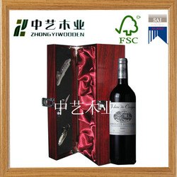 2015 new 100% handmade single bottle customized antique wooden wine carrier