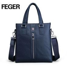 Feger Soft Cow Split Leather Men Handbag Crossbody Briefcase
