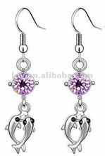 New Pendant Two Fishes Shaped Crystal Rhinstone Multicolor Exquisite Daisy Crystal Honorable Custom Murano Alloy Earrings 2013