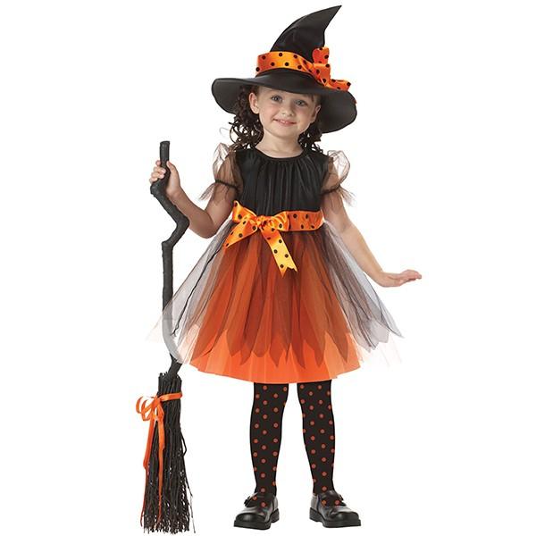 Jolie se pomponner fille robe enfants halloween costume avec chapeau de sorcière