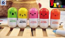 Stylish Smiling Face Pill Ball Point Pen Telescopic Vitamin Capsule Ballpen Hot