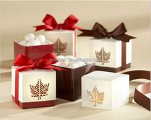wedding favor candy box--Laser-Cut Maple Leaf Favor Boxes paper laser cut chocolate box