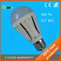 9w A60 180 degree e27 warm white LED bulb lighting
