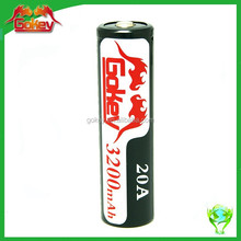 2015 Newest Gokey 18650 battery specifications 3.7V 20A 3200mAh lithium ion batteries high drain rechargeable battery packs