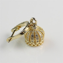 Hot New Fashion Crown Shaped Crown Shaped Brass Jewelry Picture of Gold Earrings Designs
