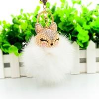 2015 Fashion Fox Fur Ball Keychain crystal fur pom keyring