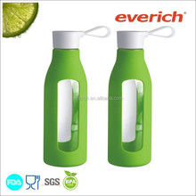 600ml silicone wrap glass drinking bottle with handle