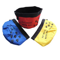 E020 Convenient folding calico water Pet Bowls portable Cat Water Bowl 9*15 CM Color Oxford Material Drop Shipping