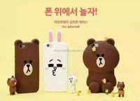 Silicone 3D LINE FRIENDS Cartoon Phone Case For iphone5 and 6 and 6plus