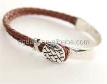 High end brown leather western unisex silver bracelet
