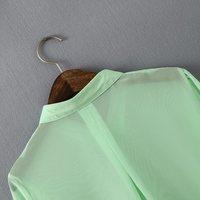 новые моды женщин шифоновые топы Длинный рукав кнопку вниз Повседневная блузка рубашка