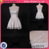 2013 One-shoulder lace sleeve short wedding dresses in pakistan