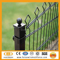 European pop hot sale high security welded steel fence with double horizontal wire for home & g