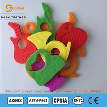 Best Baby Teether - 4 Silicone Sensory Teething Ring Toys - Fun Colorful