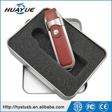Gift Promotion 16GB Flash Memory Leather 2.0 USB Pendrive With Metal Tin Box