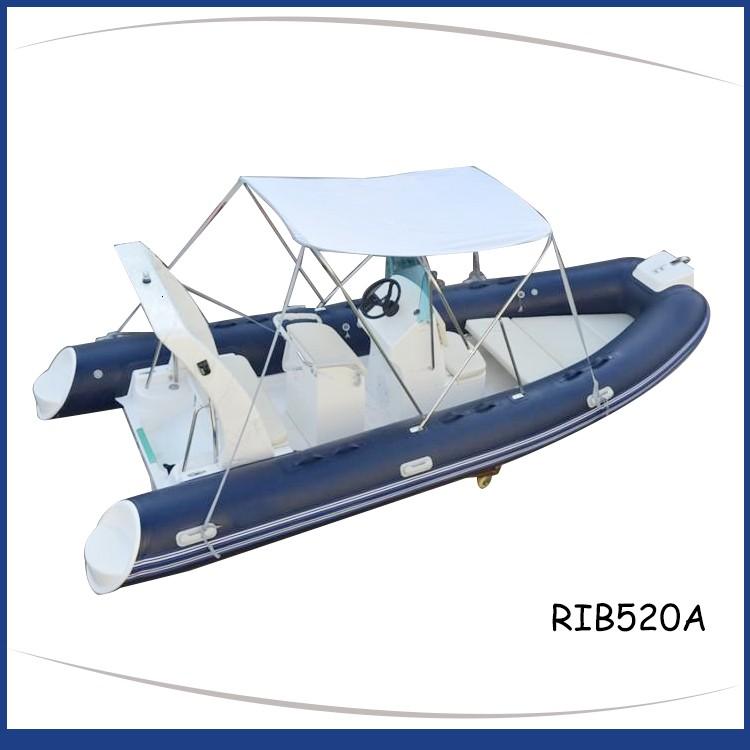 Blue_rigid_inflatable_boat_fiberglass_step_frp_roll_bar_RIB520A
