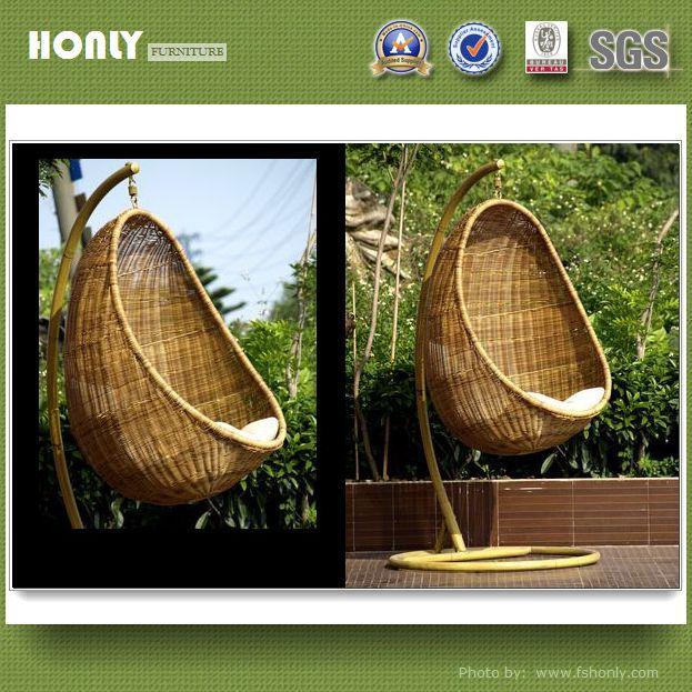 PE hanging round rattan swing chair high quality rattan bird's nest swing chair