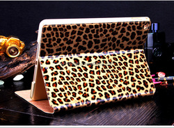 Fashional leopard leather case for ipad air 2, untra thin origianl case for ipad 6 HH-IP618-4