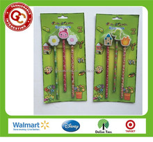 Hot selling cute pencil with flower and rabbit eraser topper