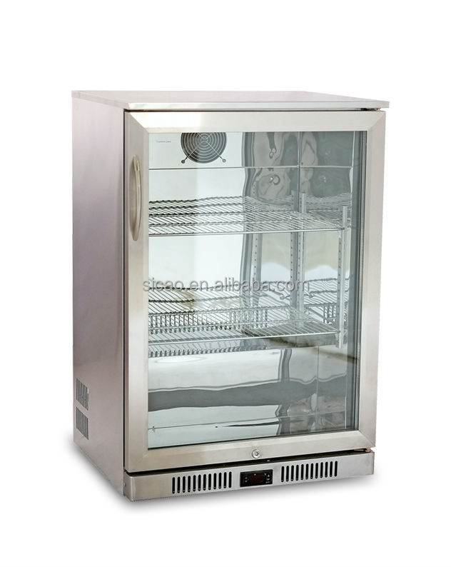 Stainless Steel Double Glass Door Mini Refrigerator,Fridge ...