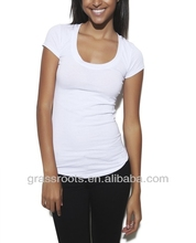 TX0088 Cheap Womens Clothing Blank White Slim Fit TShirt Made in China