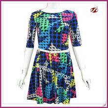 Cópia colorida yound lady dress novo design de moda vestido com branco vestidos belt para as mulheres