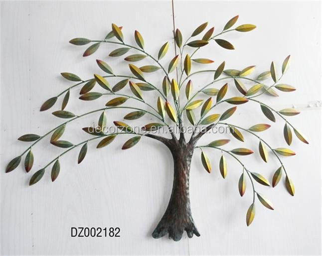 Metal tree and leaf wall decor art buy metal leaf wall for Decoration murale arbre de vie