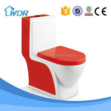 One-piece siphonic sanitary modern red color toilet