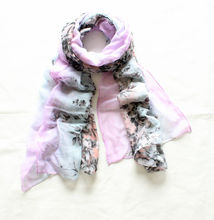 Women's floral flower ombre color Print Scarf Shawl Wrap