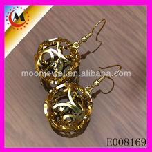 WHITE AAA ZIRCON HOLLOW BALL EARRINGS DESIGN,GOLD OLD FASHIONED EARRINGS