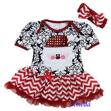Newborn Xmas Glitter Santa Baby Red Damask Chevron Bodysuit Pettiskirt Dress Romper 0-18