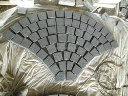 Chinese Zhangpu black granite on net cobble stone for garden paving stone net paste